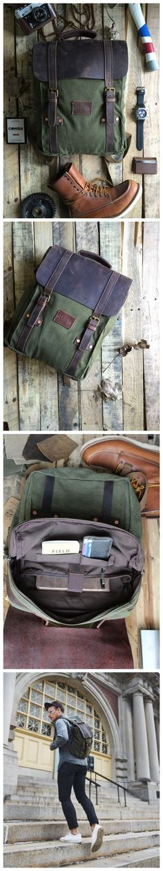 """Introducing, """"Leo"""" our handcrafted backpack/rucksack that is skillfully created from the best materials around. Whether you are vacationing to Europe, backpacking through your local national forest, or heading to work or school, our high quality backpacks are perfect for any occasion. This backpack is constructed out of full grain leather, durable duck canvas, copper rivets and brass hardware. We use high quality materials that ensure your bag is nearly indestructible. You can be confident…"""