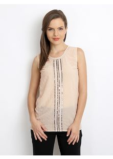 Peach Coloured Top With Sequin And Bead Embellishments At Front, Woven, Round Neck, Sleeveless, Slightly Curved Hem