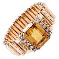 $15,000-18,000 Retro Rose Gold 55-carat Citrine Diamond Bracelet | From a unique collection of vintage retro bracelets at http://www.1stdibs.com/jewelry/bracelets/retro-bracelets/