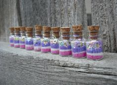 Fairy Dust Jars set of 10 Pink and Purple by thesetinytreasures, $11.98
