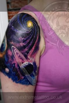 Cover up tattoo sleeve in progress, Planets tattoo,Cosmin Raducan .Extreme tattoo&piercing. Fort William. Highland