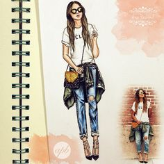 """Simple drawing of the day, inspired by @sincerelyjules, love her style"" - Ana PB Art"