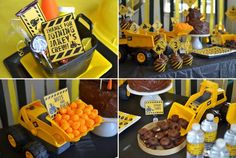 Digger Party food - Cheese ball boulders, donut spare tires, jelly bean rocks, m pebbles Digger Birthday Parties, Digger Party, Construction Birthday Parties, Construction Party, Construction Worker, Tractor Birthday, Boy Birthday, Birthday Ideas, Mini Bunting