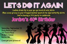 Custom 70s theme party invitation - I design, YOU PRINT