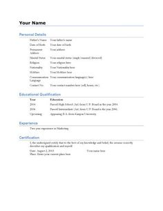 Text Resume Template Image Result For Simple Biodata Format For Job Fresher  English