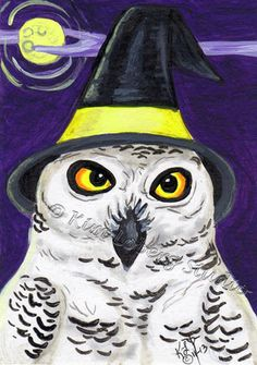 Snow Owl witch hat Halloween aceo EBSQ Kim Loberg bird HA31 Mini Art moon raptor #IllustrationArt