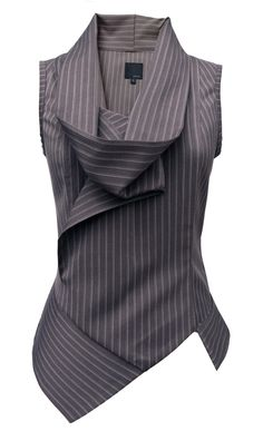 Asymmetric blouse that gives a twist to conservative business pinstripes!