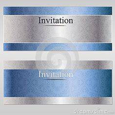 Vector luxury vintage card invitation. Blue and silver