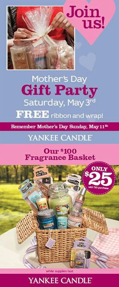 Mother's Day Gift Party at Yankee Candle ~~ http://www.thepromenadebolingbrook.com/store/2138794847/deal/2138091037