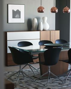 Black furniture in dining room Milano table, Adelaide chair BoConcept
