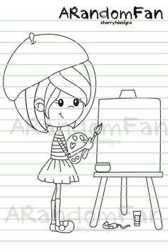 Digital Stamps Autry's Art Lesson por ARandomFan en Etsy
