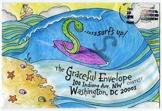 Mark A Hicks - Surf's Up! - 2014 Graceful Envelope Contest . #mailart #snailmail…