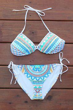Tribal Inspired Triangle Bikini Swimsuit