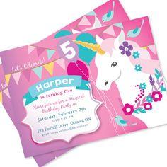 Unicorn Birthday Invitation Printable Customized By Crazyfoxpaper Invitations