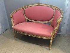 A VENDRE Petit canapé corbeille style Louis XVI  A recouvrir du tissu de votre choix  | Atelier Bacchetta
