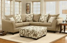 A.M.B. Furniture & Design :: Living room furniture :: Sofas and Sets :: Sectional Sofas :: Barnsley Contemporary Sand Stone Sectional with Pillows and Ottoman - MADE IN THE USA