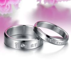 (2 pcs)His & Her You Are Mine/CZ Titanium Couple Rings. Starting at $1 on Tophatter.com!