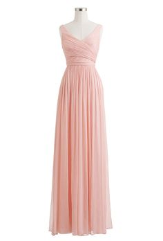 "Brides: J.Crew. ""Heidi"" long dress in silk chiffon, $365, J.Crew"