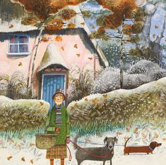 'A Walk Into The Village' By Painter.  Blank Art Cards By Green Pebble. www.greenpebble.co.uk