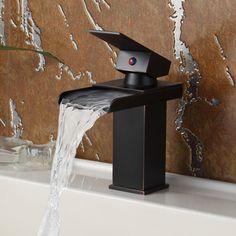 Elite Oil Rubbed Bronze Water Fall Design Single Lever Basin Sink Faucet