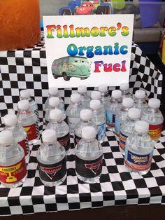 Cars birthday   Printable water bottle labels: http://www.etsy.com/listing/78535499/printable-disney-inspired-cars-2-race