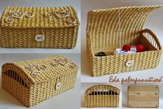A chest, made from paper, reused newspaper, organizer, home decor box, recycled paper. Basket for yarn, for a gift.