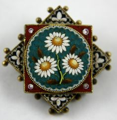 Micro Mosaic Glass Etruscan Pin Antique 1900s vintage jewelry brooch with daisies flowers pin x