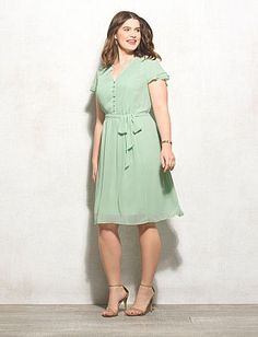 Plus Size Button-Front Belted Dress