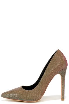 Gold Multi Glitter Pointed Pumps ==
