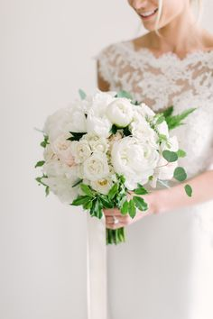 Peony and rose wedding bouquet: Photography : Love & Light Photographs | Wedding Dress : Reem Acra | Floral Design : Blade Floral and Event Designs Read More on SMP: http://www.stylemepretty.com/little-black-book-blog/2017/03/10/rustic-elegant-new-jersey-spring-blush-wedding/
