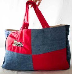 Einkaufstasche Upcycling Tasche Damentasche Shopper Weekender Katze
