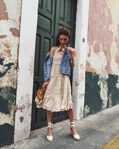 """Negin Mirsalehi on Instagram: """"Delicate dress, denim vest and linen @soludos wedges.  picture by @grantlegan. #soludosescapes"""""""