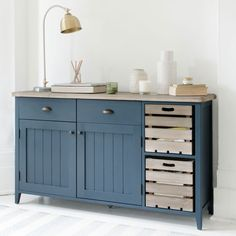 """""""The new inky blue shade is offset with a beautifully crafted wooden top, made of solid reclaimed timber recovered from old buildings. We love the removable apple crates for storage, adding a truly rustic touch to the overall feel."""" ... Ideal Home must be talking about our NEW Cidre sideboard! Read more at http://www.idealhome.co.uk/news/loaf-new-furniture-collection-178732#fdCFYPh5g4M9LKRr.99"""