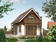 projekt Miś dr-ST BSA1410 Bungalow House Design, Tiny House Design, Little Cottages, Little Houses, Sustainable Architecture, Residential Architecture, Contemporary Architecture, Dome House, Earth Homes