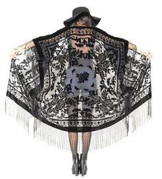 Sheer Silk Burnout Velvet Fringe Hippie Boho Gypsy Cape Festival Kimono Jacket on Etsy, $119.00