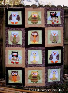 An owl quilt for baby to be.Owl Always Love Colchas Quilt, Applique Quilts, Owl Baby Quilts, Sewing Projects, Projects To Try, Sewing Ideas, Craft Projects, Craft Ideas, Owl Crafts