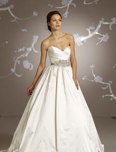 Bridal Gowns: Lazaro A-Line Wedding Dress with Sweetheart Neckline and Empire Waist Waistline