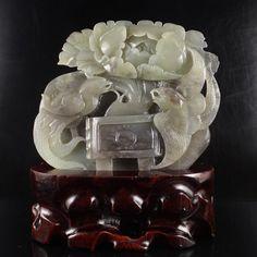 Chinese Natural Hetian Jade Statue - Phoenix & Peony