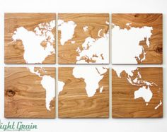 Large World Map Wall Art on Natural Birch Wood Grain by RightGrain