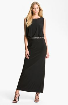 Betsy & adam Cutout Blouson Jersey Gown in Black
