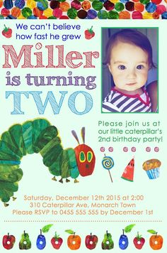 Welcome Product Description Do you have a very hungry caterpillar who is celebrating a birthday? This 10x15 (4x6) personalised invitation is the