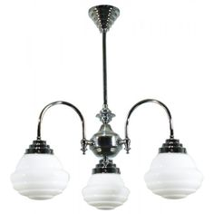 Chrome Downtown 3 Light Pendant with Parkville Opal Gloss Glass