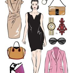 My #fashion week inspired #runway paperdoll - she ´s got everything a #stylish #lady needs! #fashionillustration #fashionillustrator #art #instaart #woman #accessories #handbag #shoes #dress
