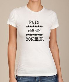 Peace LOVE happiness  french script girls ladies by LIttleAtoms, $18.00
