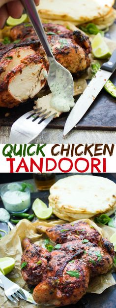 Quick Roast Tandoori Chicken. This absolutely the ONE and only way to make a tandoori chicken without marinating and long hours of waiting! No special ovens needed, just a LOAD of flavors and a secret tip to speed p the roasting! Get this all time favorite recipe and see for yourself! www.twopurplefigs.com