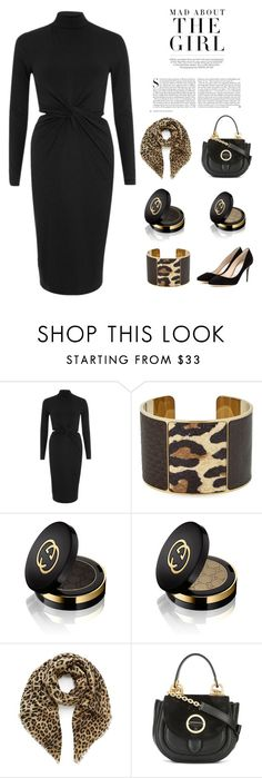 """""""LBD w Leopard print scarf"""" by im-karla-with-a-k ❤ liked on Polyvore featuring River Island, Kershaw, Aspinal of London, Gucci, Mulberry, MICHAEL Michael Kors and Jimmy Choo"""