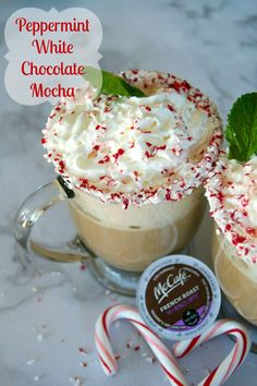 Peppermint, white chocolate hot cocoa and coffee make up this delicious holiday drink you can make at home!