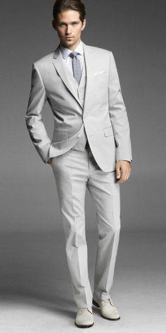 Men's Cotton 3 Piece Suit in Chalk