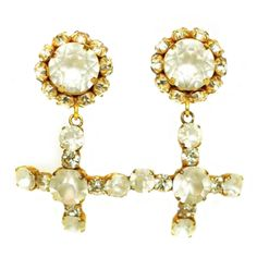 1stdibs | DOMINIQUE AURIENTIS Rhinestone Cross Clip Dangling Earrings