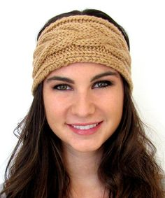 Loving this Camel Chunky Cable-Knit Head Wrap on #zulily! #zulilyfinds
